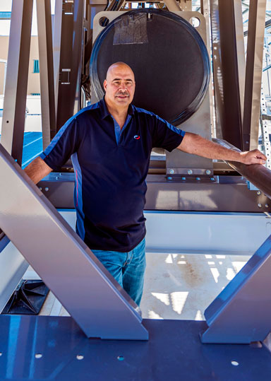 David Martinez inside thermosyphon cooling unit